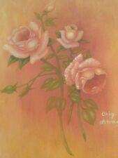 Texas State Prison Inmate Artwork 4 Peach colored Roses on stretched Canvas Oil