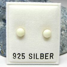 NEU 925 Silber 5mm OHRSTECKER in weiß/cremeweiß OHRRINGE Earrings massiv