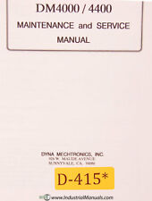 Dynamyte 4000 DM4400, CNC Lathe Service Maintenance and Parts Manual 1989