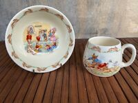Vintage Bunnykins Royal Doulton England Fine Bone China Child's Cup & Bowl Set