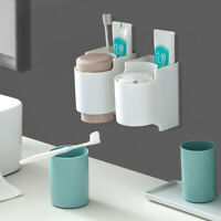 Wall Mounted Toothbrush Holder 2 Cups Toothpaste Dispenser Bathroom Accessories