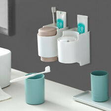 Wall Mounted Toothbrush Holder 2Cups Toothpaste Dispenser Bathroom Organizer Set