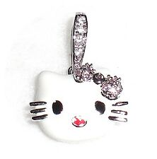 HELLO KITTY PENDANT (in White) w/ CZ Gems .925 STERLING SILVER