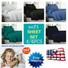 4/6 Pcs King size Bed Fitted Soft 100% Microfiber  Flat Sheet Pillowcase Bedding