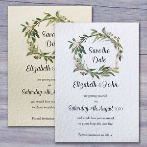 10 Wedding Save the Date Cards Invitations Personalised With Envelopes