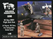 Verlinden 1/48 US Navy WWII Flight Deck Crew Resin Set #1295 4 Figures