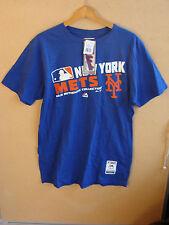 // New York Mets Majestic Triple Peak Play T-Shirt Blue 100% Cotton MLB Size L
