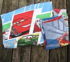 DISNEY PIXAR CARS Lightening McQueen 3 Pc Set Twin Flat Fitted Sheets Std Case