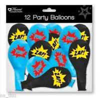 12pc SUPERHERO BALLOONS party birthday children boys kids BLUE BLACK foil zaap