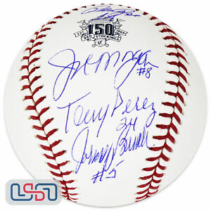Rose Morgan Perez Bench Autographed Reds 150th Anniversary Baseball JSA Auth