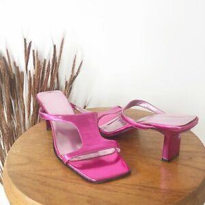 Madeline Metallic Pink Square Toe Mule Heel Sandals Womens Size 6.5 M 90s Vtg