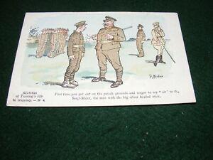 VINTAGE POSTCARD ART WW I F MACKAIN SKETCHES OF TOMMY'S LIFE TRAINING No 4 LITHO