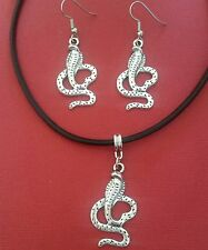 Snake Necklace and Earrings set Charm Pendant on Leather fun party jewelry