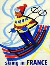 SPORT TOURISM SKIING SNOW WINTER FRANCE VINTAGE RETRO ADVERTISING POSTER 2082PY