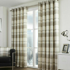 Natural Beige Tartan Check Curtains Balmoral Lined Eyelet Ring Top Curtains Pair
