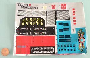 1985 Vintage TRANSFORMERS metroplex STICKER SHEET only RARE Hasbro G1