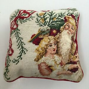 C&F Needlepoint Decorative Pillow Red Velvet 10x10 Santa Victorian Girl