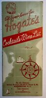 Vintage 1964 Hogate's Seafood Restaurant Cocktail Wine List Menu Washington DC