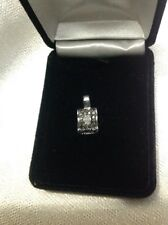 Women's 10k White Gold Black and White Diamond Pendant
