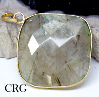 Gold Plated Faceted Square Rutilated Quartz Pendant (FC33DG)