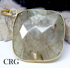 Gold Plated Faceted Square Rutilated Quartz Pendant (FC33DG)