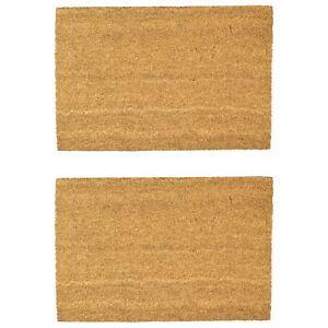 2x Door Mat Non-Slip PVC Coir, 40 x 60cm - Plain - Indoor Welcome Mats Doormats