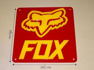 FOX Cycling Acrylic Sign, Style B: Red & Yellow, 190 X 190mm