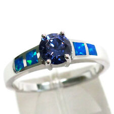 CHARMING 1 CT TANZANITE BLUE OPAL 925 STERLING SILVER RING SIZE 5-10