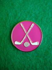 Crossed Clubs Magenta Golf Ball Marker Metal Flat Putting Coin - X Cross