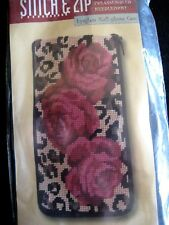 STITCH & ZIP EYEGLASS,CELL PHONE Kit,ROSE LEOPARD,Needlepoint,Preassembled,393