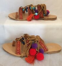 pom pom sandals Size 7 Brown Tan Charms Lace Up Flats Festival Beach Boho Ethnic