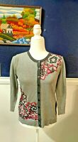 Tabitha Anthropologie Cardigan Sweater Embroidered Floral Gray Buttons Sz Medium