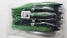 Squid pack of 10 pcs 9 inch tuna marlin teaser bulb head squid green black back