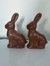 New Set of 2 Fillable plastic Chocolate Easter Bunny Treat Container Blowmold