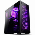 Aurora Tempered glass Window computer pc Case /w RGB tuning LED fans