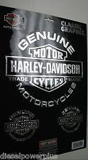 harley davidson genuine motorcycles decal sticker set 3  hd bike chrome shield