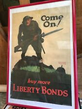 1918 VINTAGE AMERICAN WWI PROPAGANDA POSTER, COME ON! BUY MORE LIBERTY BONDS