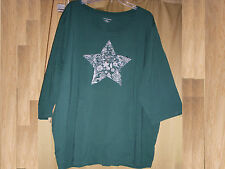 3X 26/28 Catherines Tee Top Christmas Star TKnit Green Studs Holiday LS NWT 3X