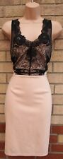 NEW LOOK PINK BLACK LACE FRONT V FRONT BACK BODYCON PENCIL PARTY DRESS 12 M