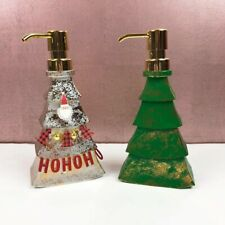 Christmas Tree Soap Dispenser Set of 2 Gold Green Red Holiday Festive
