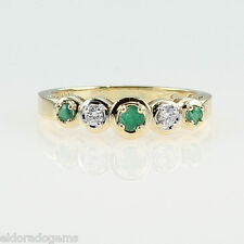 HIGH END! 0.25 CT. EMERALD & DIAMOND LADY'S BAND RING 14K YELLOW GOLD SIZE US6.5