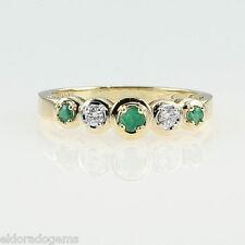 ALTO LIVELLO! 0.25 ct. smeraldo e diamante donna 's Fedina 14k oro giallo misura