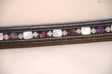 "15""  (Cob) Black Browband w/ Amethyst, Black Shell and Square Metal Beads"