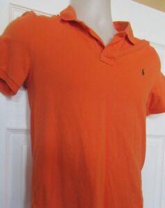 Boys 14-16 L orange RALPH LAUREN POLO short sleeve shirt 100% cotton