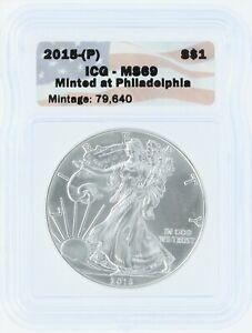 2015 (P) Silver Eagle ICG MS69 S$1 Flag Tag Minted at Philadelphia