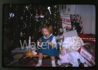 1965 kodachrome photo slide Young Girl with Toys Christmas Doll Tammy Tea set