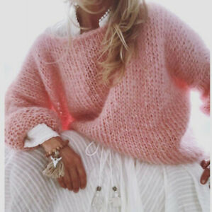 Womens Oversized Sweater Soild Color Pullover Cable Knit Long Sleeve Chunky Tops