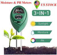 3 In 1 Portable Soil Tester Moisture PH Value Meters Test Plant Sunlight Level