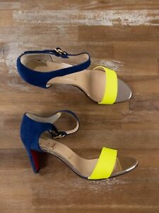 $865 CHRISTIAN LOUBOUTIN Sec Jaune blue yellow sandals shoes - 10.5 US / 10.5 EU