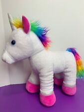 White Unicorn with Rainbow Mane and Tail Silver Glitter Pink Hooves Build A Bear